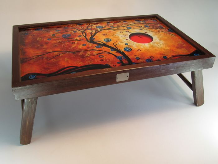 folding wooden coffee table with
