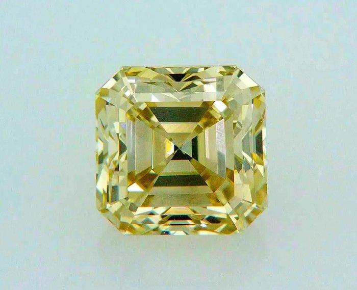 1 pcs 鑽石 - 1.15 ct - 上丁方形 - fancy greenish yellow - VVS2 - Catawiki