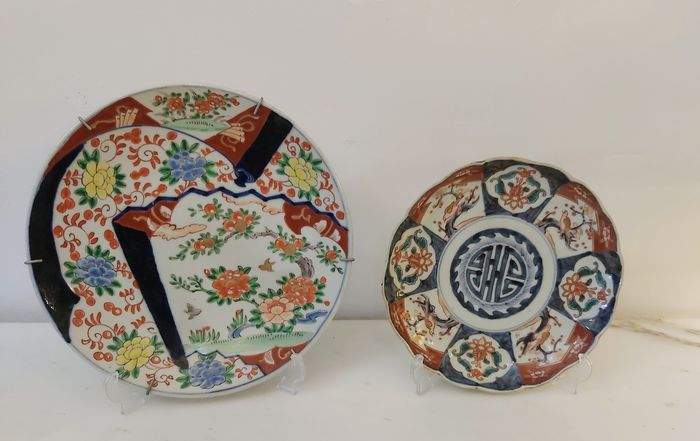 Dishes, Stands (2) - Imari - Porcelain - Flowers - Yamatoku - Japan - Meiji period (1868-1912)
