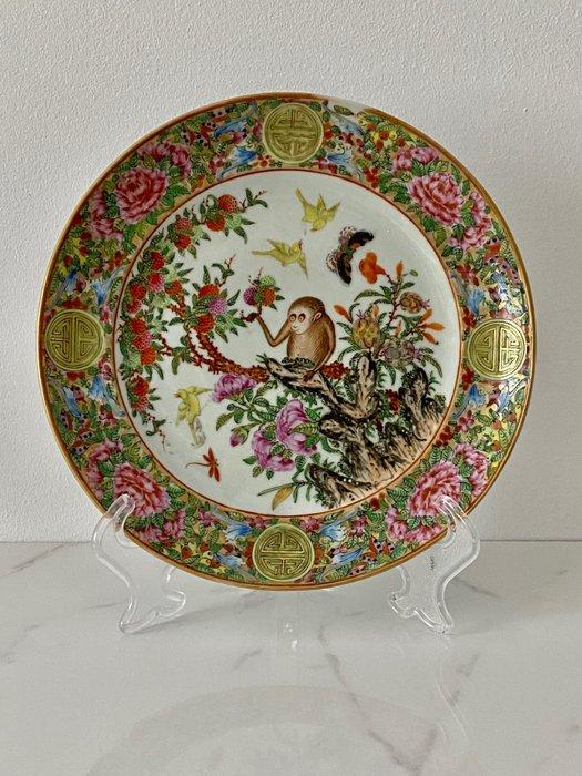 Dish - Famille rose - Porcelain - Ape/monkey - China - 19th century