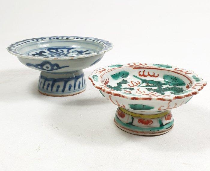 Stem bowl (2) - Porcelain - China - Qing Dynasty (1644-1911)