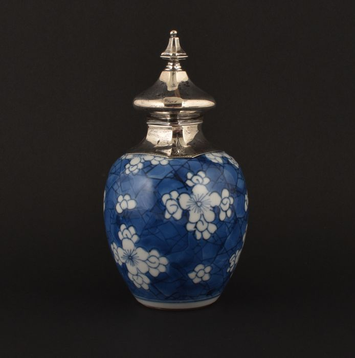 A BLUE AND WHITE JAR DECORATED WITH PRUNUS FLOWERS ON ICE-GROUND - Porcelain - China - Kangxi (1662-1722)