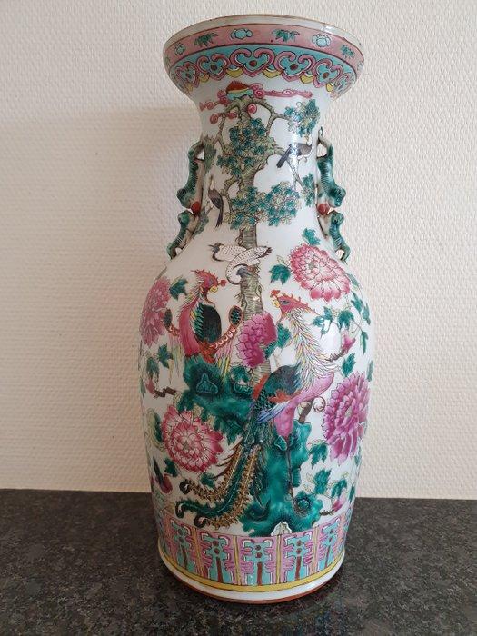 Vase (1) - Porcelain - Birds & flowers (famille rose) - China - 19th century