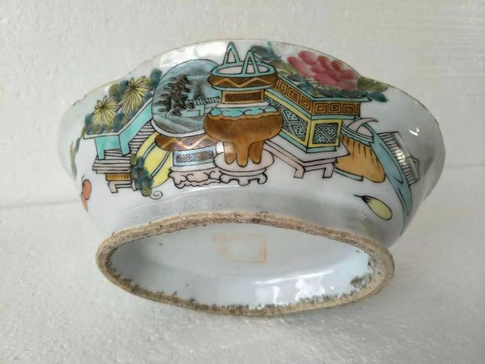 Stem bowl - Famille rose - Porcelain - literate object - China - 19th century