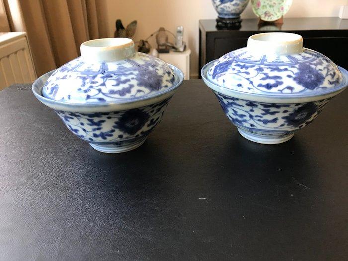 Lid bowls (2) - Porcelain - China - Tongzhi (1862-1874)
