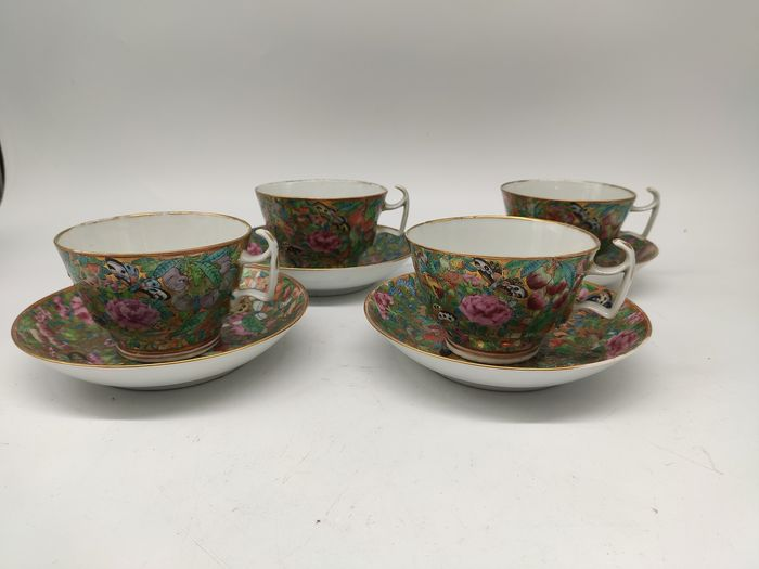 Cup, Saucers (8) - Canton - Porcelain - fruits, flowers; butterflies; vegetables - China - 19th century