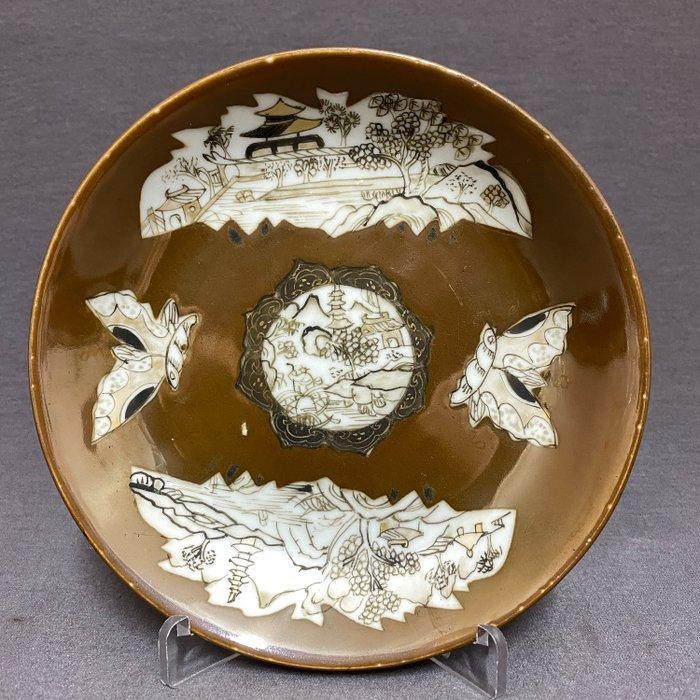 Saucer - Porcelain - Chinese - Batavia brown glaze - Encre de Chine - Pagodas, scholars, butterflies - China - Kangxi (1662-1722)