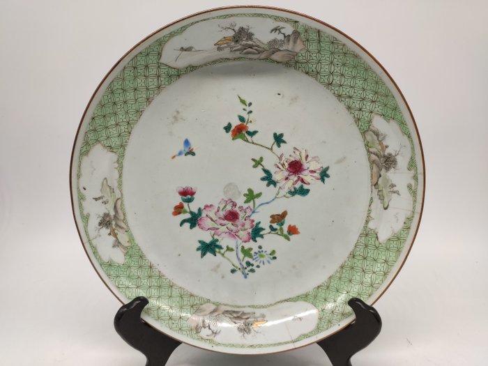 Dish - Famille rose - Porcelain - Flowers, butterflies; landscape scene - China - Yongzheng (1723-1735)