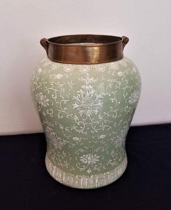 Celadon baluster vase with enamelled decoration - Porcelain - China - 19th century