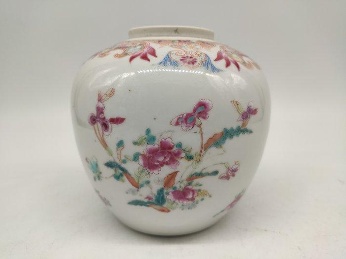 Ginger jar - Famille rose - Porcelain - Flowers - China - 19th century