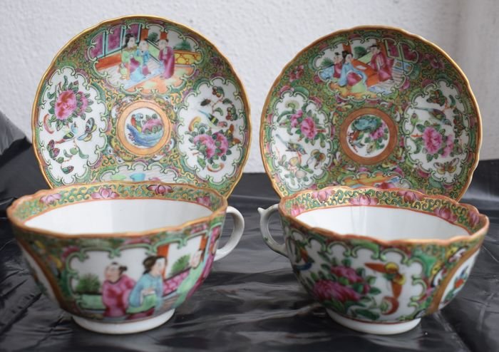 Plates, Tea cups (4) - Famille rose - Porcelain - China - 19th century