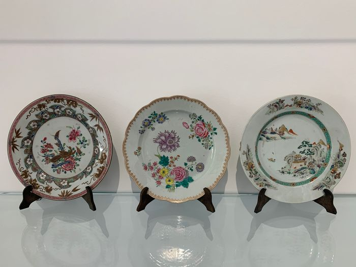 Dish (3) - Porcelain - China - 18th century