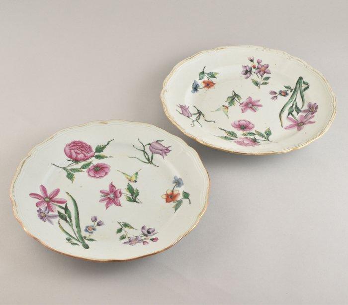 A PAIR OF LARGE CHINESE FAMILLE ROSE BOTANICAL PLATES (2) - Porcelain - China - Qianlong (1736-1795)