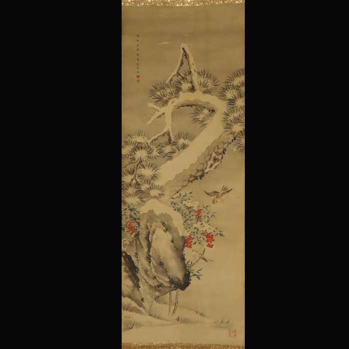 Hanging scroll painting (1) - Silk - Snow scenery - 'Nandina, pine tree and sparrows in snow' - With signature 'Soseki' 蒼石 - Japan - Meiji period (1868-1912)