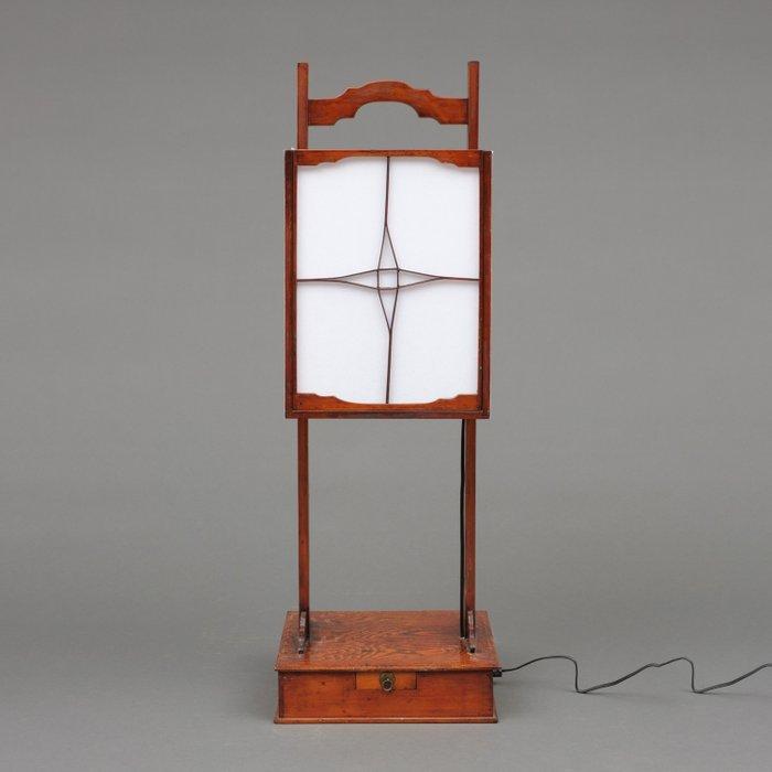 Lamp - Rice paper, Keyaki wood - Fully restored and functional square original lantern ( Kaku andon ) - Japan - Meiji period (1868-1912)