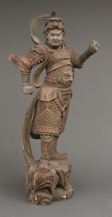 defender of Buddism - Wood - one of the Eight Legions (hachibushu). - Important life-size statue of a Buddhist deity in his manifestation of a warrior, named Gobujo - Japan - Meiji period (1868-1912)