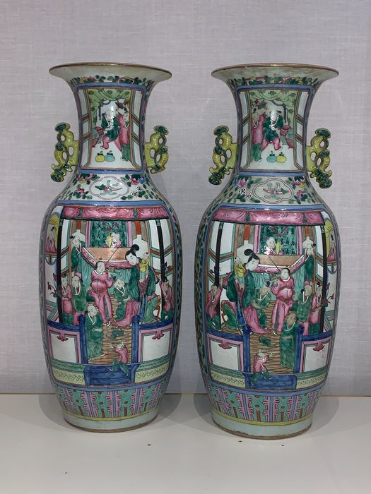 Vases - Canton, Famille rose - Porcelain - China - Qing Dynasty (1644-1911)