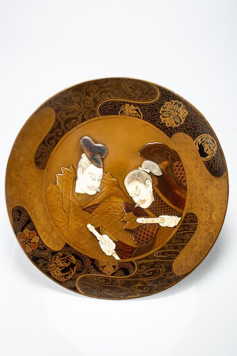 Plate - Ivory, Lacquer - Samurai - Lacca makie shibayama - Japan - Meiji period (1868-1912)