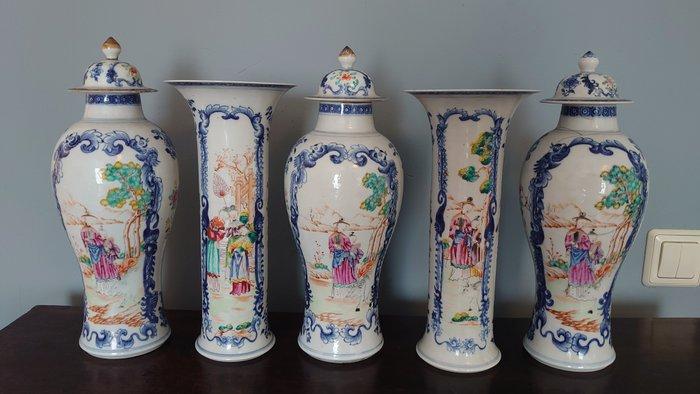 Vases (5) - Famille rose - Porcelain - Garniture set - China - Qianlong (1736-1795)