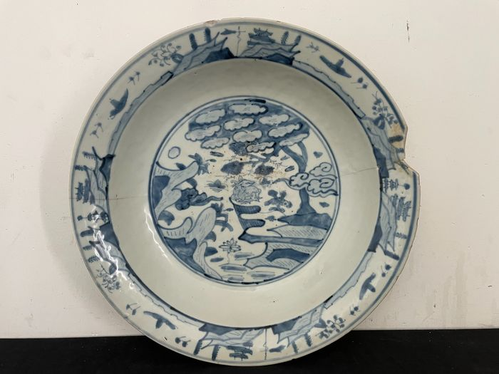 Saucer (1) - Blue and white - Porcelain - Deer - China - Wanli (1573-1619)
