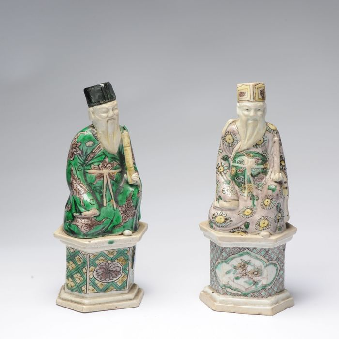 Statue (2) - Sancai - Porcelain - Verte Biscuit Immortal - China - Kangxi (1662-1722)