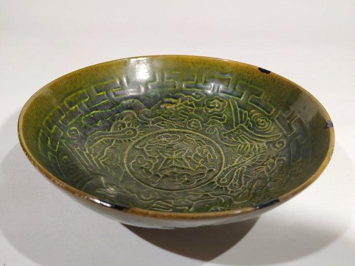 Bowl - Stoneware - Dragon - A STONEWARE BOWL WITH DARK GREEN GLAZE - China - Northern Song (960-1127)