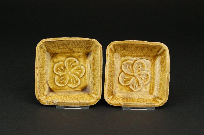 Bowl - Porcelain - *Square Yellow glazed molded dishes* - China - 17th century