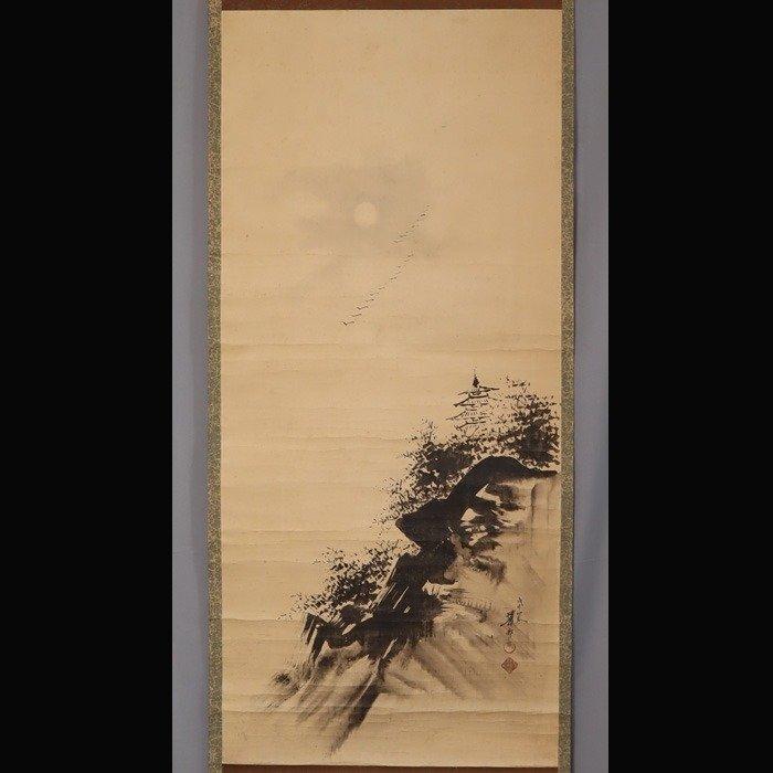 Hanging scroll painting - Silk - Flock of geese, moonlit night - Mochizuki Kason (?-?) - 'Flock of geese, moonlit night' - With signature 'Kason' 華邨 - Japan - Late Edo period