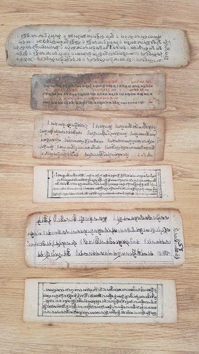 Buddhist manuscript (6) - Handmade paper - Prayer book - Antyczny starożytny azjatycki Tybet Himalaje Skręcony Buddy Buddyjski rękopis Book Pages - Tibet - 18th - 19th century