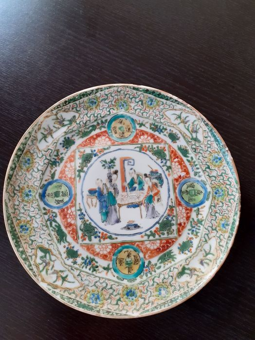 Plate (1) - Canton, Famille verte - Porcelain - Plate - China - 19th century