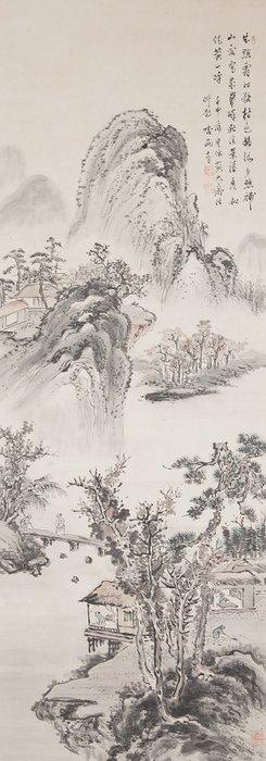 Hanging scroll - Paper, Wood - Hoashi Kyou (1810-1884) - Very fine sumi-e landscape scroll - including original tomobako - Japan - 19th century