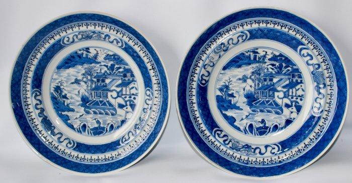 Plates (2) - Blue and white - Porcelain - Landscape - China - Qianlong (1736-1795)