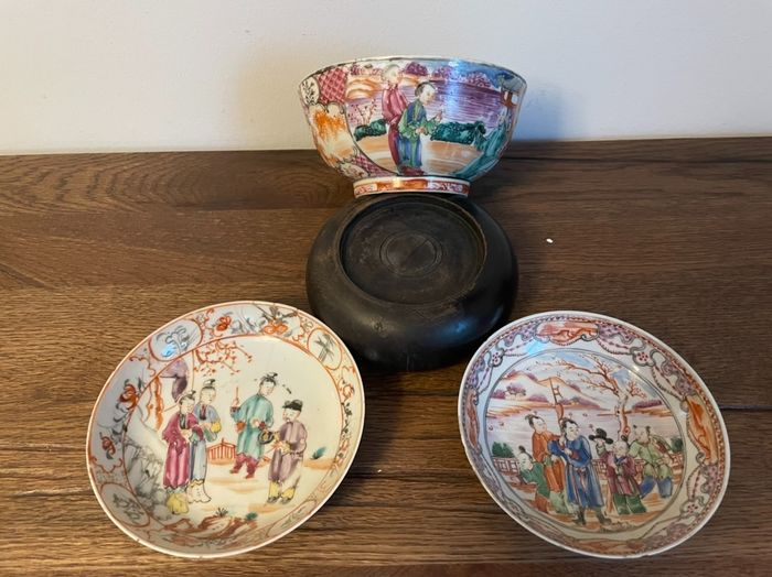 Bowl, Dishes (3) - Famille rose - Porcelain - China - Qianlong (1736-1795)