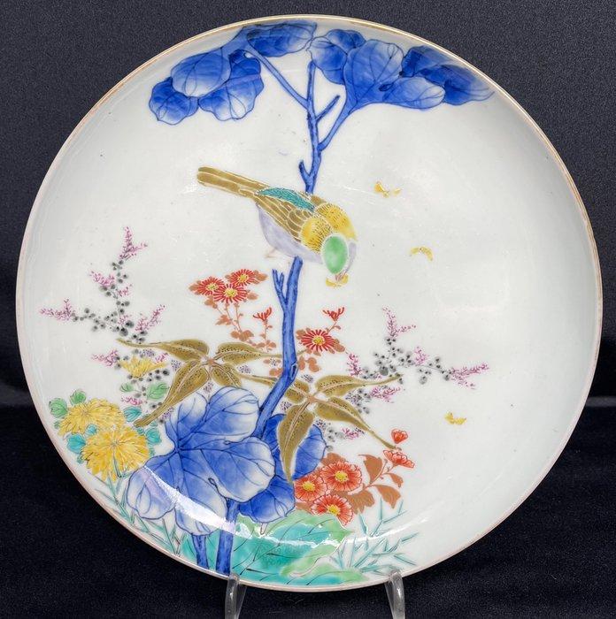 Dish (1) - Porcelain - Bird, Flowers - Koransha - Feiner Teller mit Bodenmarke 'Fukagawa sei' 深川製 - Japan - Meiji period (1868-1912)