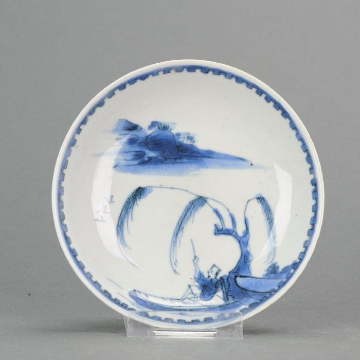 Dish - Porcelain - Antique Chinese Porcelain Tianqi / Chongzhen 17th c Ming Fisher Plate - China - 17th century