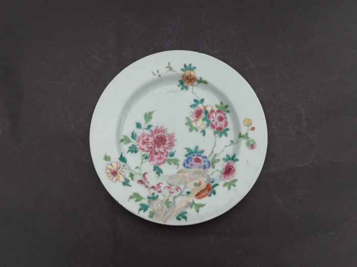 Plate (1) - Famille rose - Porcelain - Flowers - Grote Pionroos bord - China - 18th century