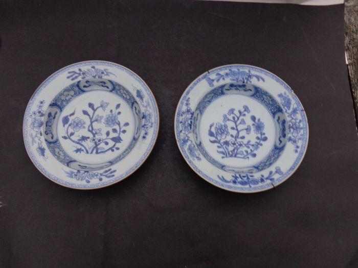 Plates (2) - Blue and white - Porcelain - Flowers - Twee soep borden periode Qianlong [1736-1795] - China - 18th century