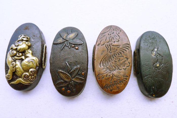 Japanese 4 kashira set - Cast iron, Copper - Japan - Edo Period (1600-1868)