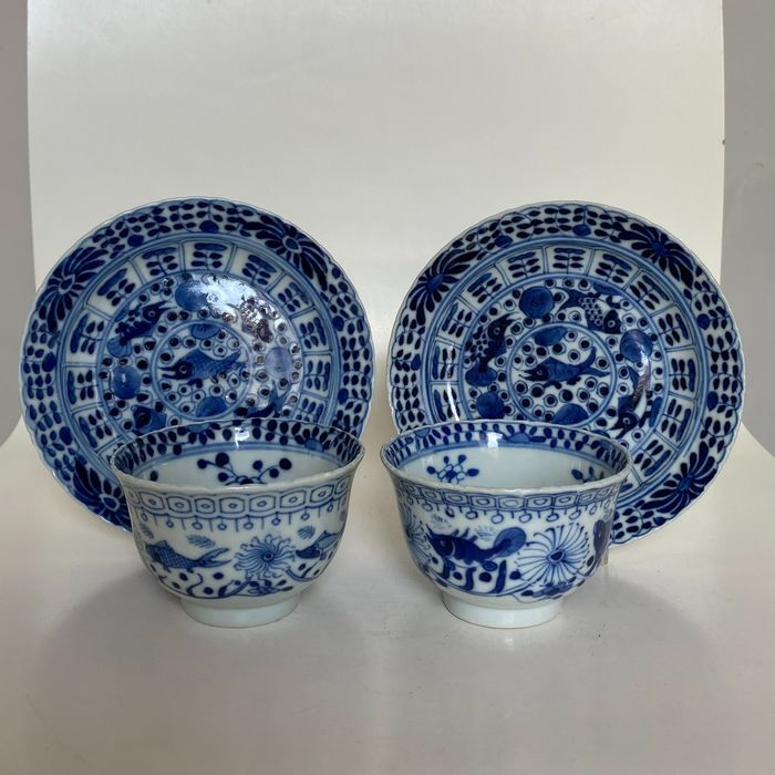 Cup & saucers - Crab and fish - 4 character kangxi brand (4) - Porcelain - China - 19th century