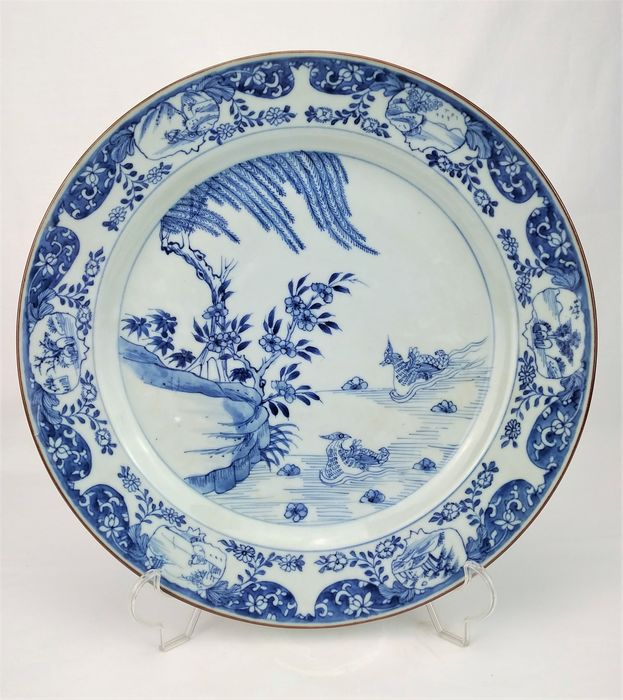 Charger - Blue and white - Porcelain - Mandarin Ducks - China - 18th - 19th century