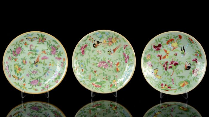 Plates (3) - Celadon, Famille rose - Porcelain - Birds, butterflies, insects, peonia and other flowers - China - Daoguang (1821-1850)