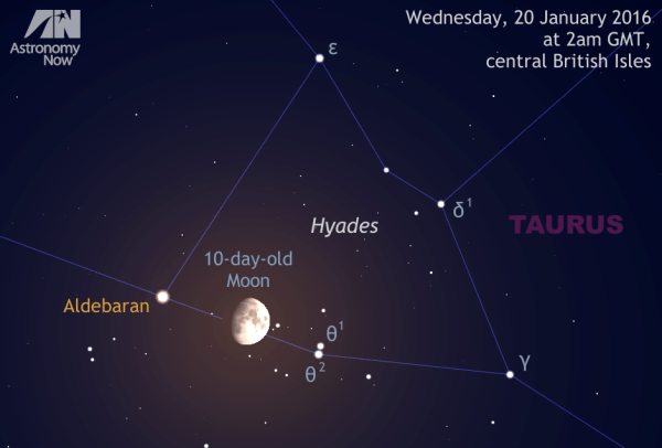 See the Moon glide through the Hyades and occult bright