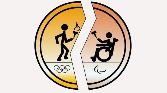 Ilustracao de medalha dourada rachada no meio. do lado esquerdo um bonequinho sem deficiencia leva a tocha, com o simbolo dos jogos olimpicos em baixo. Do lado direito um bonequinho cadeirante leva a tocha, com o simbolo dos jogos paralimpicos em baixo.