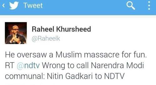 Image result for Raheel Khursheed anti hindu