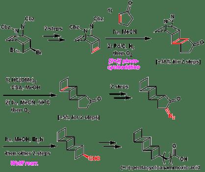 図3. ペンタシクロアナモキシ酸のラセミ全合成[2a]