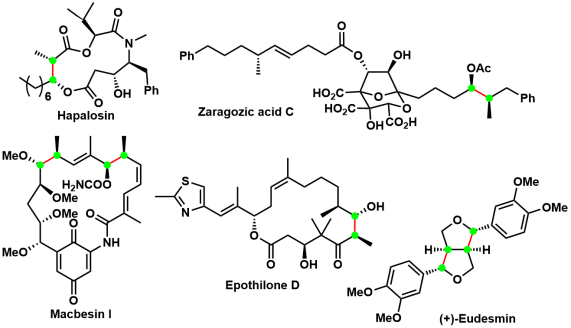 図5:Evansアルドール反応を応用して全合成された天然物