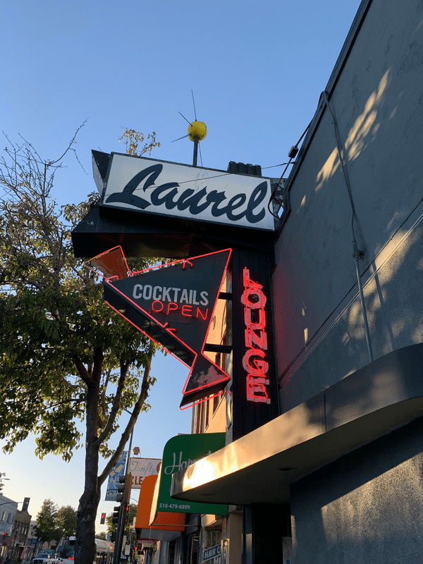 The sign outside Laurel Lounge, a bar in the Laurel district in East Oakland.
