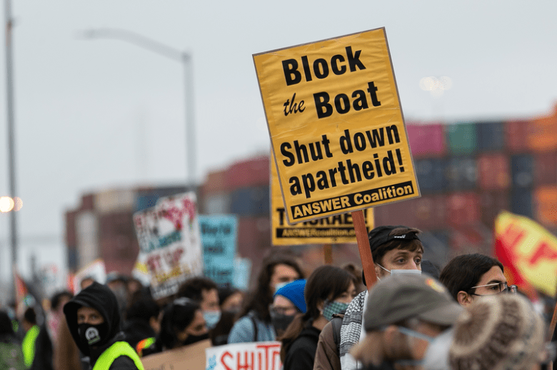 #BlocktheBoat demonstration preventing trucks from off-loading cargo from ZIM Isreali ship at the Port of Oakland in protest of US aid to Isreal, Middle Harbor Shoreline Park, West Oakland, 6/4/21.