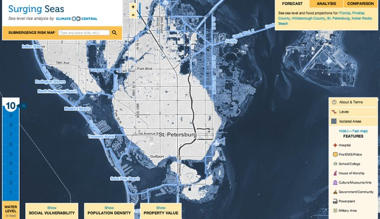 What Does U S  Look Like With 10 Feet of Sea Level Rise    Climate     St  Petersburg  Fla   projections showing water levels 10 feet above high  tide line  Click on the map to explore