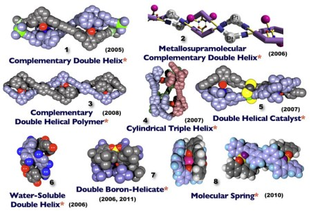 图1 光学活性螺旋分子:其中1和4-8的结构由X单晶衍射确认,3由AFM确认,2由计算获得